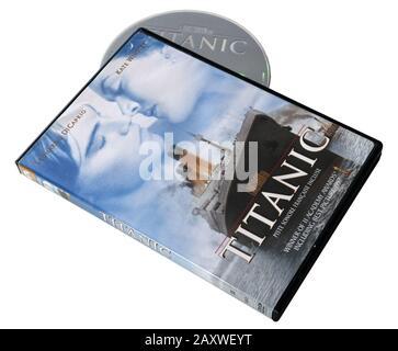 Film Titanic avec Leonardi DiCaprio et Kate Winslet sur DVD Banque D'Images