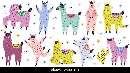Jolie collection de lamas de style scandinave. Jeu d'alpagas marrant dessiné à la main Banque D'Images