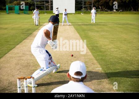 Entraînement des joueurs de cricket sur le terrain