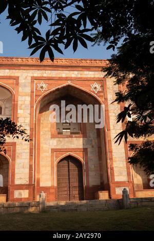 Inde, Uttar Pradesh, New Delhi, Tombeau D'Humayan, Porte Sud Banque D'Images