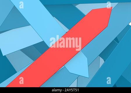 Groupe des flèches bleues et flèche rouge pointant vers le haut Banque D'Images