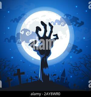 Fond Halloween zombie avec mains sur la pleine lune. Banque D'Images