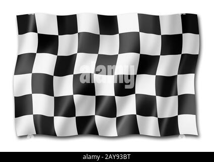 Drapeau à damier de finition de course automatique isolé sur blanc Banque D'Images