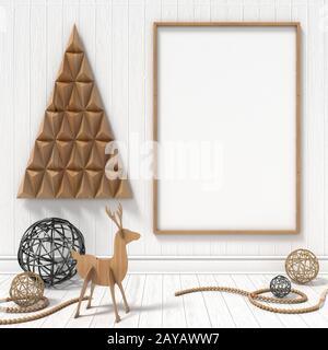 Des maquettes en blanc cadre photo, décoration de Noël. 3D