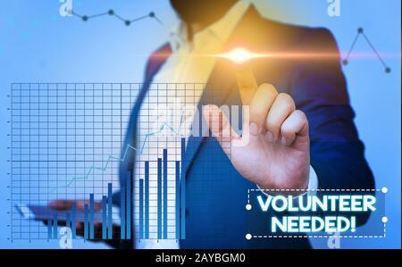 Signe de texte montrant le volontaire nécessaire. Photo conceptuelle besoin de travail pour l'organisation sans être payé.