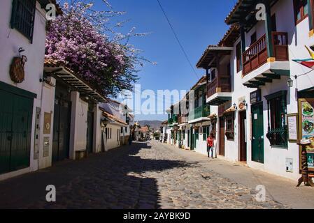 Rues pavées dans la charmante Villa coloniale de Leyva, Boyaca, Colombie