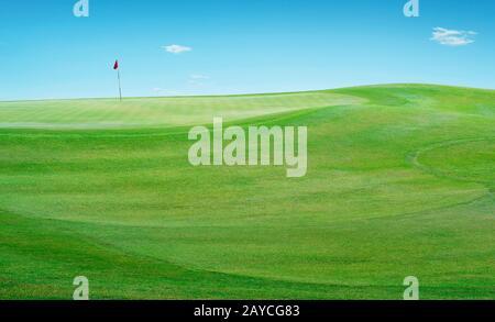 Belle coulisse parfaite vue sur le terrain de golf green grass field .