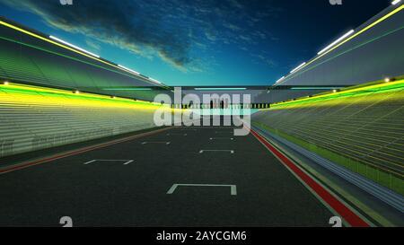 Vue sur la piste de course internationale d'asphalte à débordement vide avec ligne de voiture Banque D'Images