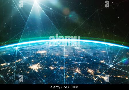 Réseau connecté sur la planète Terre