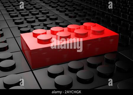 Briques rouges de jouet en relief sortant de la foule de briques de jouet noires . Leadership Banque D'Images