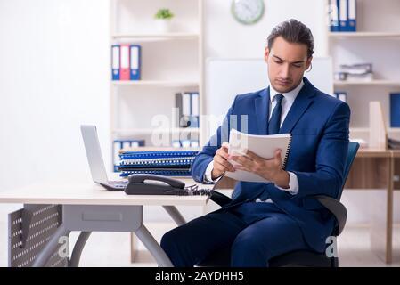 Jeune homme d'affaires travaillant au bureau Banque D'Images