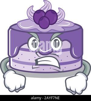 Gâteau aux bleuets dessin animé style personnage ayant le visage en colère Banque D'Images