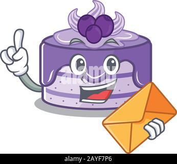 Motif mascotte à motif gâteau aux bleuets avec enveloppe Banque D'Images