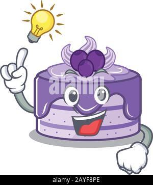 un style de personnage de dessin animé intelligent de gâteau aux bleuets a un geste d'idée Banque D'Images
