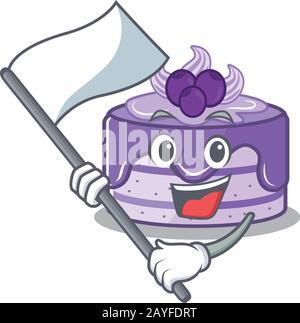 Drôle de gâteau de bleuet style de personnage de dessin animé tenant un drapeau debout Banque D'Images