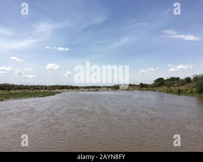 Paysage à grande vue sur le parc national de Mara River iin Serengeti, Tanzanie, Afrique