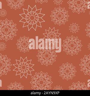 Motif de répétition sans couture, style oriental. Mandalas à fleurs blanches sur fond orange. Motifs décoratifs orientaux parfaits pour l'impression sur tissu ou papier.