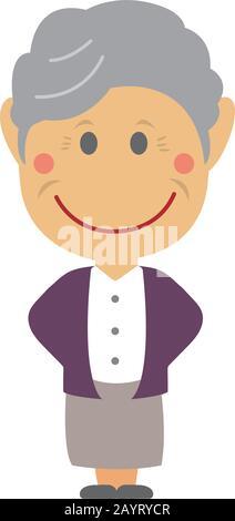Illustration vectorielle homme déformée ( grand-mère,femme âgée) Banque D'Images
