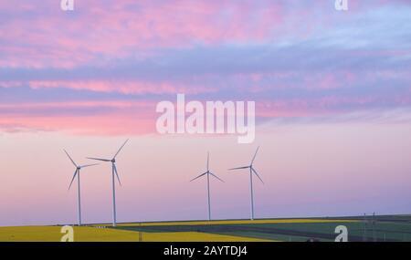 Champ Éolien Et Turbines Éoliennes Sur Le Champ De Printemps Banque D'Images