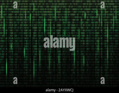 Code de données binaires de l'écran de l'ordinateur. Code numérique continu en vert, données Web abstraites en code binaire. Illustration vectorielle