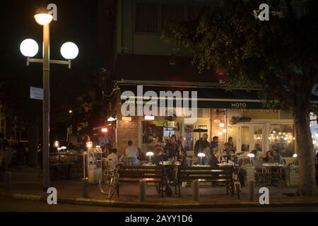 Café Dizengoff dans le centre-ville de tel Aviv Banque D'Images