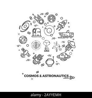 Planètes, espace et icônes vectorielles de fusée. Comet et astéroïde dans l'espace, voyage espace de vol illustration cosmique Banque D'Images