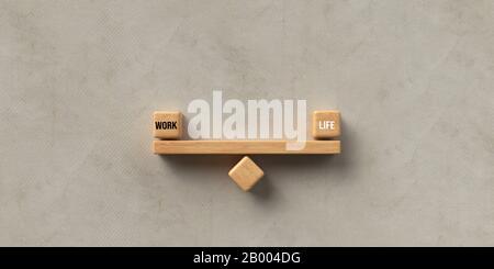 Blocs en bois formés comme une patte avec les mots TRAVAIL et LA VIE sur fond de papier - illustration de rendu tridimensionnel Banque D'Images