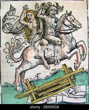 Allemagne: 'Le diable et une femme à cheval'. The Nuremberg Chronicle, par Hartmann Schedel (1440-1514), 1493. La chronique de Nuremberg est une histoire du monde illustrée. Sa structure suit l'histoire de l'histoire humaine telle qu'elle est liée dans la Bible, y compris l'histoire d'un certain nombre de villes occidentales importantes. Écrit en latin par Hartmann Schedel, avec une version en allemand de Georg Alt, il est apparu en 1493. Il s'agit de l'un des livres imprimés les mieux documentés. Il est classé comme un incunabulum, un livre, une brochure ou un grand format qui a été imprimé (non manuscrit) avant l'année 1501.