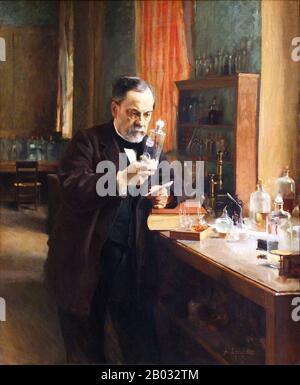 Louis Pasteur (1822–1895) était chimiste et microbiologiste français réputé pour ses découvertes des principes de vaccination, de fermentation microbienne et de pasteurisation. Il a réduit la mortalité due à la fièvre puerpérale et a créé les premiers vaccins contre la rage et l'anthrax. Les découvertes médicales de Pasteur ont fourni un soutien direct à la théorie germinale de la maladie et à son application en médecine clinique. Avec Ferdinand Cohn et Robert Koch, il est considéré comme l'un des trois principaux fondateurs de la bactériologie. Banque D'Images