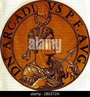 Arcadius (377-408) était le fils aîné de l'empereur Théodosius I, né à Hispania. Il a été déclaré co-dirigeant de l'est en 383, seulement six ans. Lorsque son père est mort en 395, Arcadius est devenu empereur de l'est, co-dirigeant l'Empire romain avec son frère Honorius dans l'Ouest. Aracdius était connu pour être un dirigeant faible, son règne dominé par les ministres qui l'ont entouré, ainsi que par sa femme Amelia Eudoxia. Arcadius lui-même semblait plus préoccupé par l'apparition d'un chrétien pieux plutôt que comme politicien ou général. Au moment de sa mort en 408, il n'était nominalement en contrôle o Banque D'Images