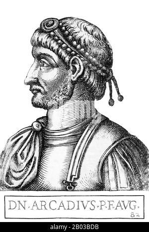 Arcadius (377-408) était le fils aîné de l'empereur Théodosius I, né à Hispania. Il a été déclaré co-dirigeant de l'est en 383. Lorsque son père est mort en 395, Arcadius est devenu empereur de l'est, co-dirigeant l'Empire romain avec son frère Honorius dans l'Ouest. Banque D'Images
