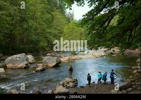 Randonneurs à South Fork de la rivière Snoqualmie dans les forêts tropicales le long de la rive ouest des montagnes Cascade au parc national d'Olallie, près du nord Banque D'Images