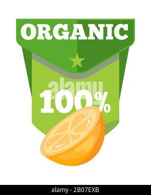 Modèle d'étiquette de jus de fruits naturels bio avec moitié orange. Illustration vectorielle Banque D'Images
