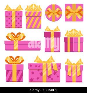 Boîtes cadeaux roses avec icônes vectorielles en forme de noeuds en ruban. Cadeaux de Noël avec illustration d'un noeud en ruban