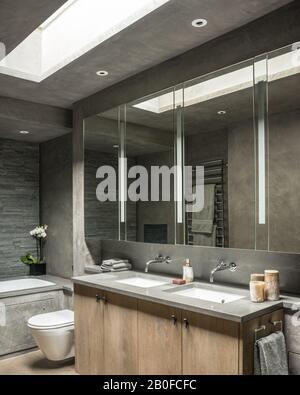 Grandes armoires à miroir avec double bassins sous le puits de lumière dans l'appartement moderne de West London.