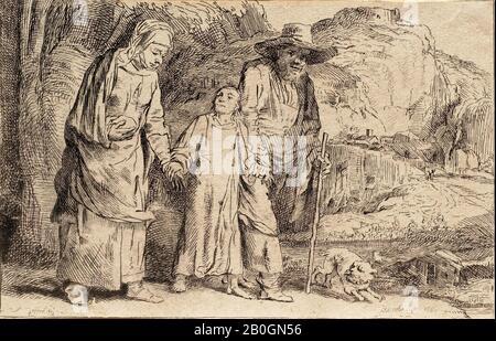Vivant Denon, Français, 1747–1825, Après Rembrandt van Rijn, (Néerlandais, 1606–1669), Christ entre Ses Parents, Revenant du Temple, 1757–1825, Etching sur papier mis, Globalement : 3 11/16 x 5 11/16 in. (9,3 x 14,4 cm Banque D'Images