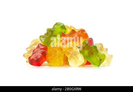 Macro De Gummy Bears Ou De Cannabis Edibles Aromatisés Aux Fruits Assortis Isolés Sur Fond Blanc