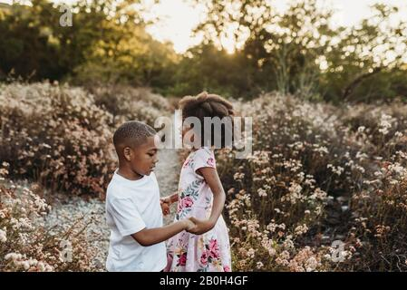 Vue rapprochée du frère et de la sœur qui tiennent les mains et jouent dans le champ