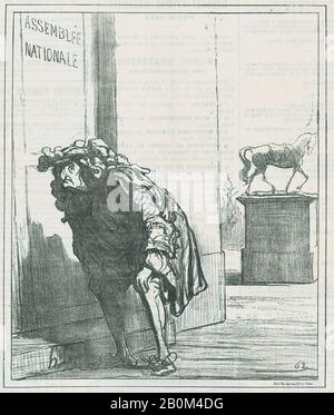 Honoré Daumier, Louis XIV troublé par les perspectives des Bourbons, de 'News of the day', publié dans le Charivari, 22 décembre 1871, 'News of the day' (Actualités), Honoré Daumier (Français, Marseille 1808–1879 Valmondois), Louis XIV, roi de France (Français, Saint-Germain-papier journal-Lithrin, 1838, 1838, 1838, 1838, 1838, 1838; Deuxième état de deux (Delteil), image : 9 3/8 × 8 1/4 in. (23,8 × 20,9 cm), feuille : 11 5/8 × 11 3/4 in. (29,5 × 29,9 cm), tirages Banque D'Images