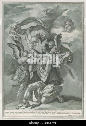 Pietro Monaco, Moïse recevant les comprimés de la Loi de Dieu qui descend des cieux; de la série de 112 reproductions de l'histoire sacrée, après la peinture de Mattia Preti, Pietro Monaco (Italien, Belluno 1707–1772 Venise), Après Mattia Preti (il Cavalier Calabrese) (Italien, Taverna 1613–1699 Valletta), CA. 1730–39, gravure et gravure, feuille (Taillée): 19 3/4 in. × 14 po. (50,2 × 35,6 cm), tirages