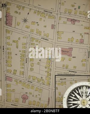 Image 18 De La Carte D'Assurance-Incendie Sanborn De Bridgeport, Comté De Fairfield, Connecticut. 1889. 37 feuille(s). Direction, Amérique, plan de rue avec un compas du XIXe siècle