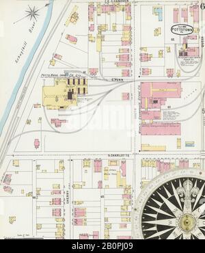 Image 6 De La Carte D'Assurance-Incendie Sanborn De Pottstown, Comté De Montgomery, Pennsylvanie. Juillet 1896. 14 feuille(s), Amérique, plan de rue avec compas du XIXe siècle