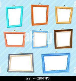 Vector Caricature photo image cadres muraux créatifs. Galerie vide du cadre, illustration du cadre photo vierge Banque D'Images