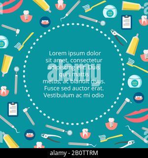 Bannière de service dentaire - affiche de stomatologie colorée. Santé et hygiène de la dentisterie, illustration vectorielle
