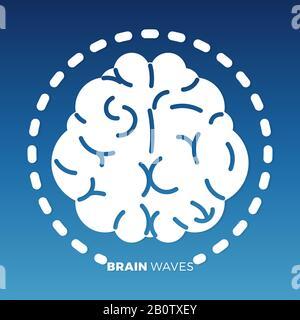 Motif icône de cerveau blanc sur fond coloré. Symbole du cerveau d'idée, illustration vectorielle Banque D'Images