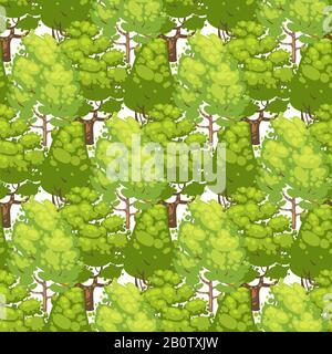 Motif sans couture forestier - texture écologique verte avec arbres. Arrière-plan abstrait des arbres verts, illustration vectorielle Banque D'Images