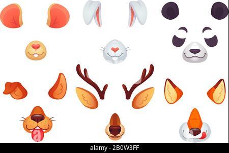 Masques pour téléphones de dessin animé. Les oreilles, la langue et les yeux des animaux bizarres. Chien brun lapin renard rouge panda ours souris et masque de cerf. Jeu de vecteurs de faces d'animaux Banque D'Images