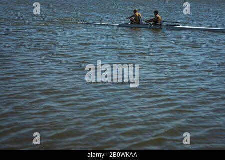 Les coéquipiers aviron sur l'eau Banque D'Images