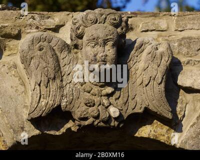 Angel sur le portail de Rinteln, Weserbergland, Basse-Saxe, Allemagne,