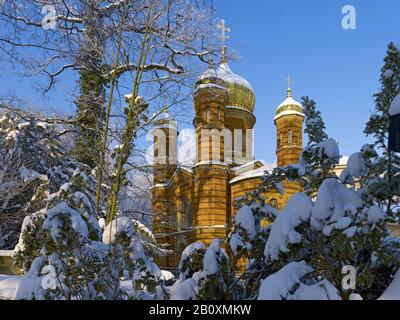 Chapelle orthodoxe russe dans le cimetière historique, Weimar, Thuringe, Allemagne, Banque D'Images